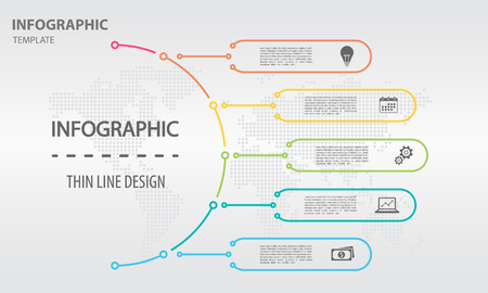 Thin line infographics templete with circle 5 options Illustration