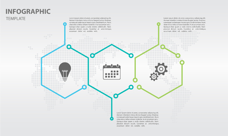 Timeline infographic thin line design with hexagon 3 options.