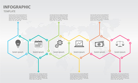 Timeline infographic thin line arrow design with hexagon 6 options. Illustration