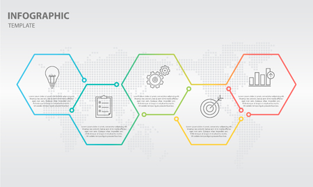 Timeline infographic thin line design with hexagon 5 options.