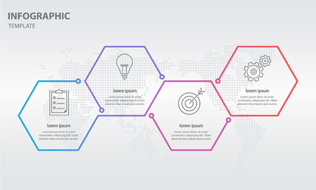 Timeline infographic thin line design with hexagon 4 options. Illustration