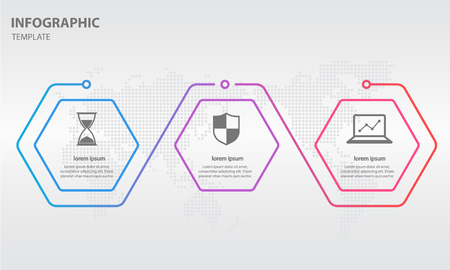 Timeline info-graphic thin line arrow design with hexagon 3 options.