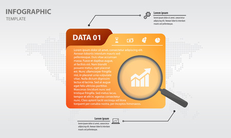 infographics template folder design with magnifying glass