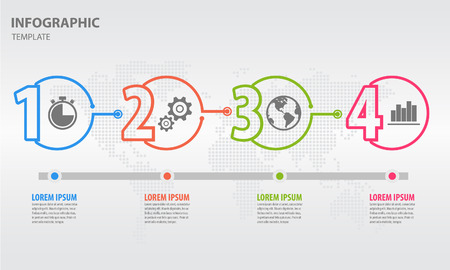 Timeline infographic design template with circle 6 option