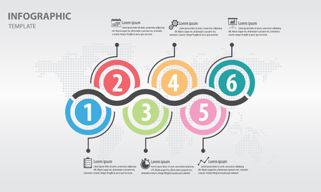 Timeline info graphic design template with circle 4 options. Illustration
