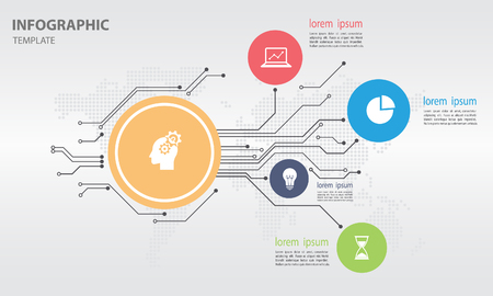 Infographic design template with circle 5 options
