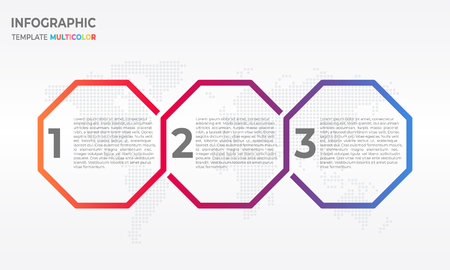 Timeline infographic design template with hexagon 3 process options.