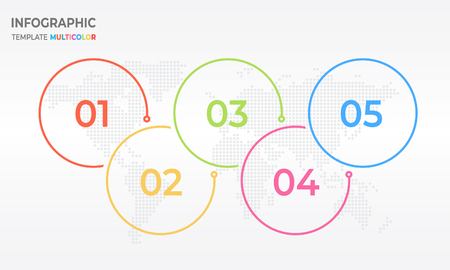 Timeline infographic thin line design, Circle 5 process options. Illustration
