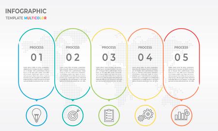 Timeline infographic thin line design, 5 process options. Illustration
