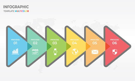 Timeline infographic design template with triangle 6 option. Illustration