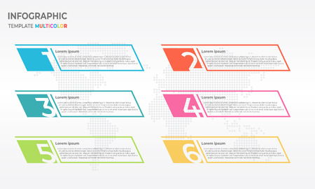 Infographic thin line design template with numbers six options. Vector Illustration