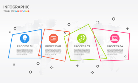 Abstract timeline infographic thin line design,  4 process options. Illustration