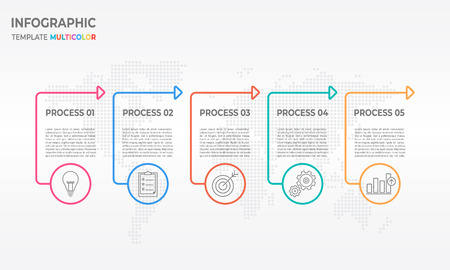 Infographic thin line design template process 5 options.