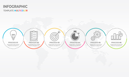 Timeline infographic thin line design template with circle 6 options.