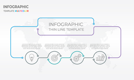 Infographic design chart template with circle ad four options. Illustration