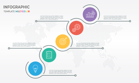 Timeline infographic template in thin line design with five circle options.