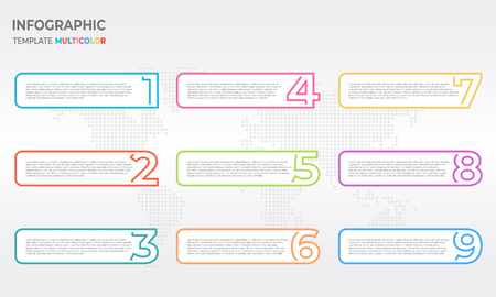 Infographic thin line design template with numbers options.
