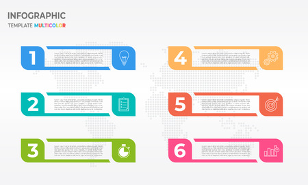 Infographic template with six process options design. Illustration