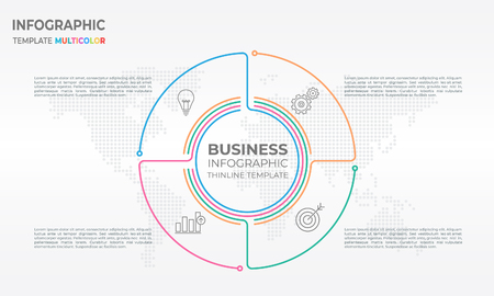 Business infographics thin line template design with four options.