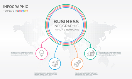 Circular business infographic thin line template design with four circle options. Illustration