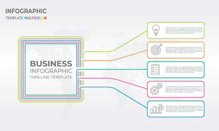 Square business infographic thin line template design with five options.