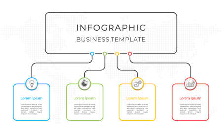 Infographic diagram template 4 options. 矢量图像