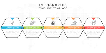 Modern hexagon timeline infographic 5 options.