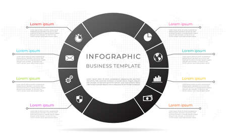 Diagram infographic template 8 options. 矢量图像
