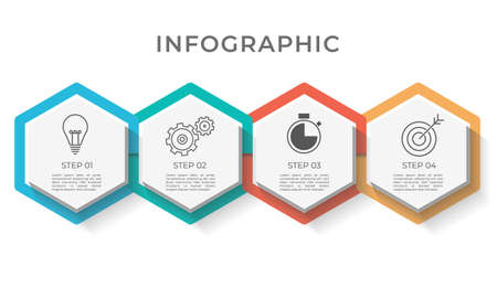 Hexagon infographic template 4 options.