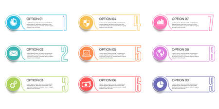 Infographic presentation elements template 9 options.