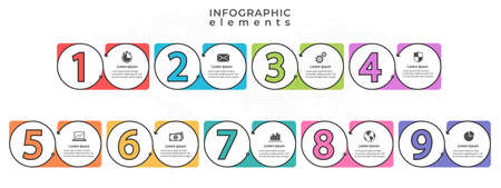 Infographic elements template with number 9 option.