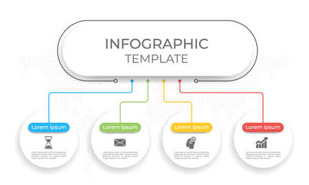 Presentation infographic template 4 options. 矢量图像