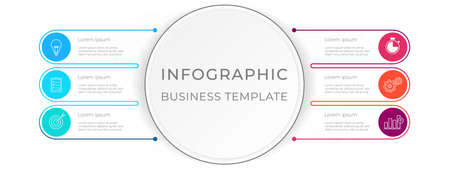 Diagram infographic template 6 options.