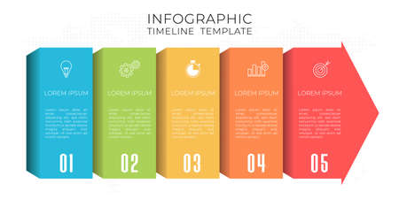Timeline infographic template 5 options.