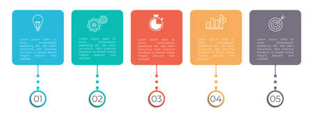 Minimal timeline infographic template 5 options or steps. 矢量图像
