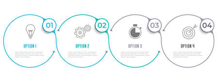 Timeline infographic template 4 circles option, Modern style.