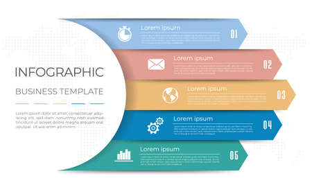 Diagram infographic template 5 options. 矢量图像
