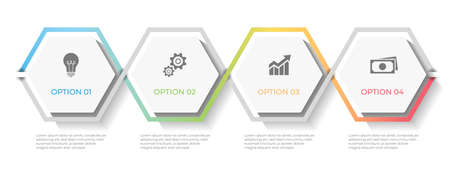 Timeline infographic template hexagon 4 options.