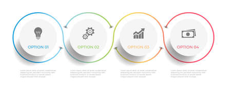 Minimal timeline circle infographic  template 4 options or steps. 矢量图像