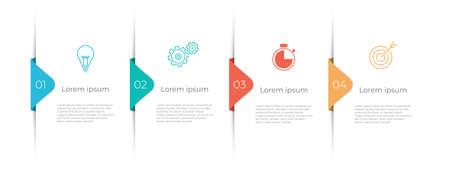 Modern timeline infographic template 4 options, Minimal design. 矢量图像