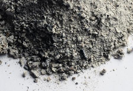 Ashes on white background