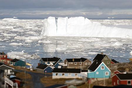 burg: Greenland glacier glaciers houses ocean small town burg sky