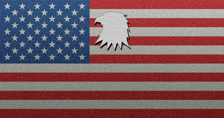 American USA flag with texture bold eagle shape