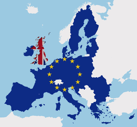 UK leaving the EU with the Brexit europe map cut out fx Stock Photo
