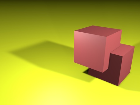 Two 3d simple light red cubes with blank faces one into other yellow background perspective with shadows
