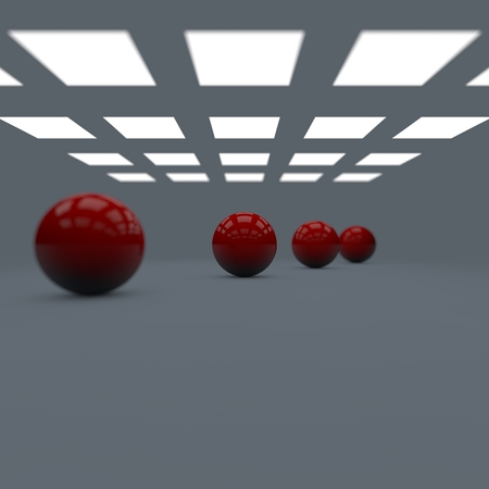 Depth of field four red shining glossy balls lined in perspective in studio with lights and shadows Stock Photo