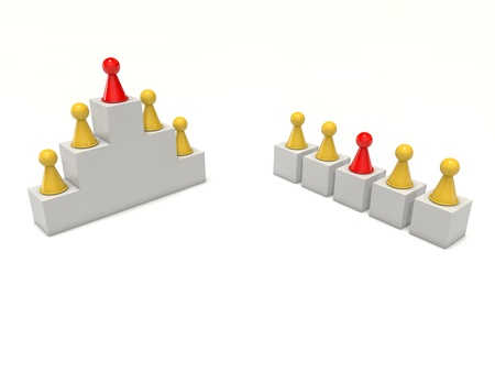Board game figures team work hierarchy individual leader