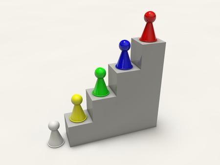 game board figures climbing up career ladder
