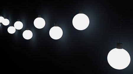 hanging lamps bulbs dark blue black background christmas 3d render rendering