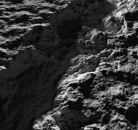 Unknown alien planet grey surface shadows lights 3d render